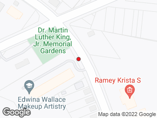 Map showing location of Rock Quarry Rd at Martin Luther King Jr Memorial Gardens
