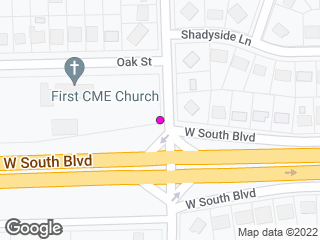 Map showing location of Rosa L. Parks & South Blvd. North