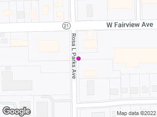 Map showing location of Rosa L. Parks & Fairview