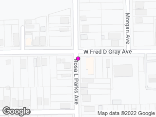 Map showing location of W. Jeff Davis Ave. & Rosa Parks Ave.