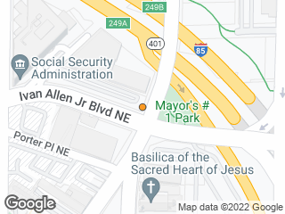 Map showing location of Peachtree St @ Ivan Allen Jr Blvd