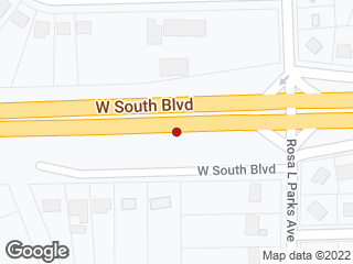 Map showing location of South Blvd Rosa Parks