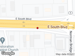Map showing location of E South Blvd Norman Bridge