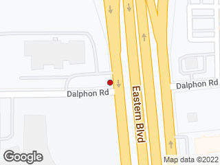 Map showing location of E Blvd Service Rd and Dalphon Rd.