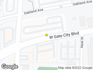 Map showing location of Gate City Blvd/Aycock (A)
