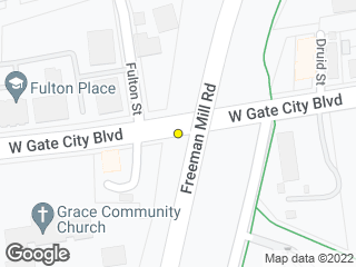Map showing location of Gate City Blvd/Freeman Mill Rd