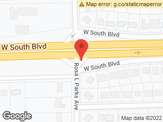 Map showing location of Rosa Parks & South Blvd.