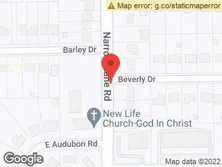 Map showing location of Narrow Lane & Beverly