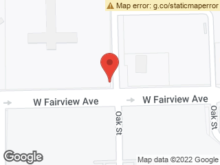 Map showing location of Oak & Fairview