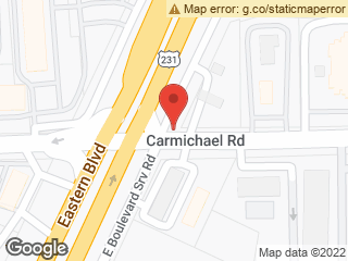 Map showing location of Carmichael & E Boulevard Service Rd.