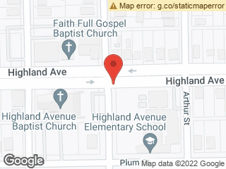 Map showing location of Plumb & Highland