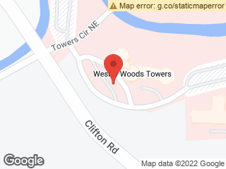 Map showing location of Wesley Woods Towers