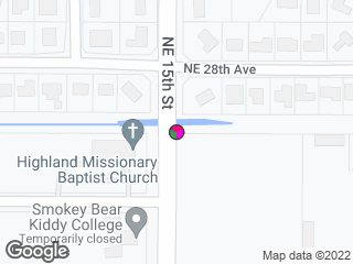 Map showing location of NE 28th Avenue @ NE 15th Street
