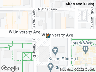 Map showing location of Keene Flint Hall
