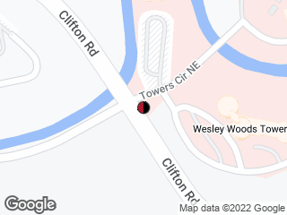 Map showing location of Clifton Rd @ Wesley Woods Entrance