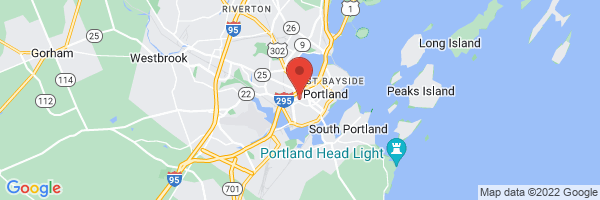 A map showing the location of Greater Portland Health