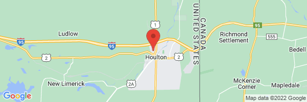 A map showing the location of Houlton Regional Hospital