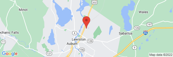 A map showing the location of Pediatric Associates of Lewiston