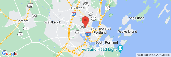 A map showing the location of New England Rehabilitation Hospital of Portland