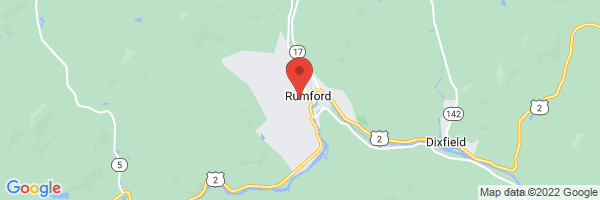 A map showing the location of Rumford Hospital