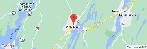 A map showing the location of Lincoln Medical Partners Family Medicine Wiscasset (LincolnHealth)