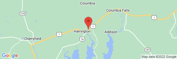A map showing the location of Harrington Family Health Center