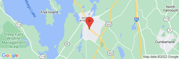 A map showing the location of Maine Medical Partners Lakes Region Primary Care (Maine Medical Center)