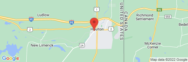 A map showing the location of Katahdin Valley Health Center, Houlton