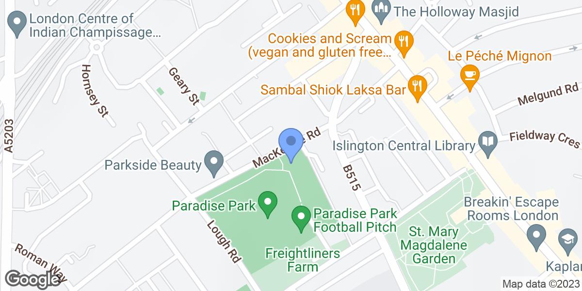 Paradise park cafe, MacKenzie Road, N7 8SE