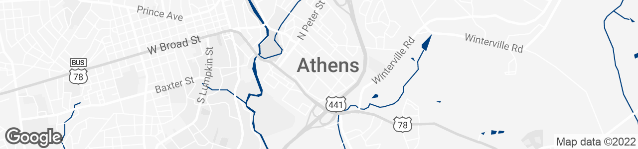 Google Map of Athens, Georgia