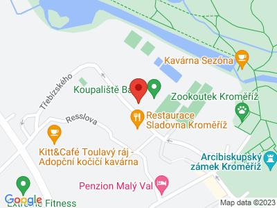 Archbishop's Waterworks Kroměříž map