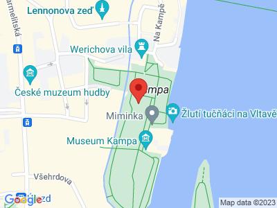 Kampa - umělý ostrov v centru Prahy map