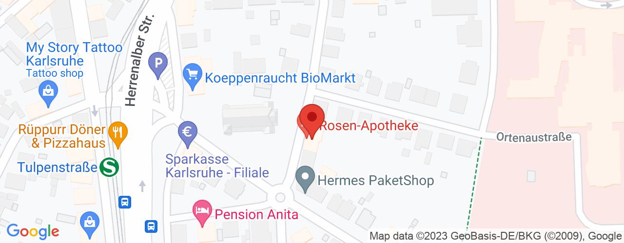 Karte von Bodymed-Center Rosen-Apotheke-Rüppurr