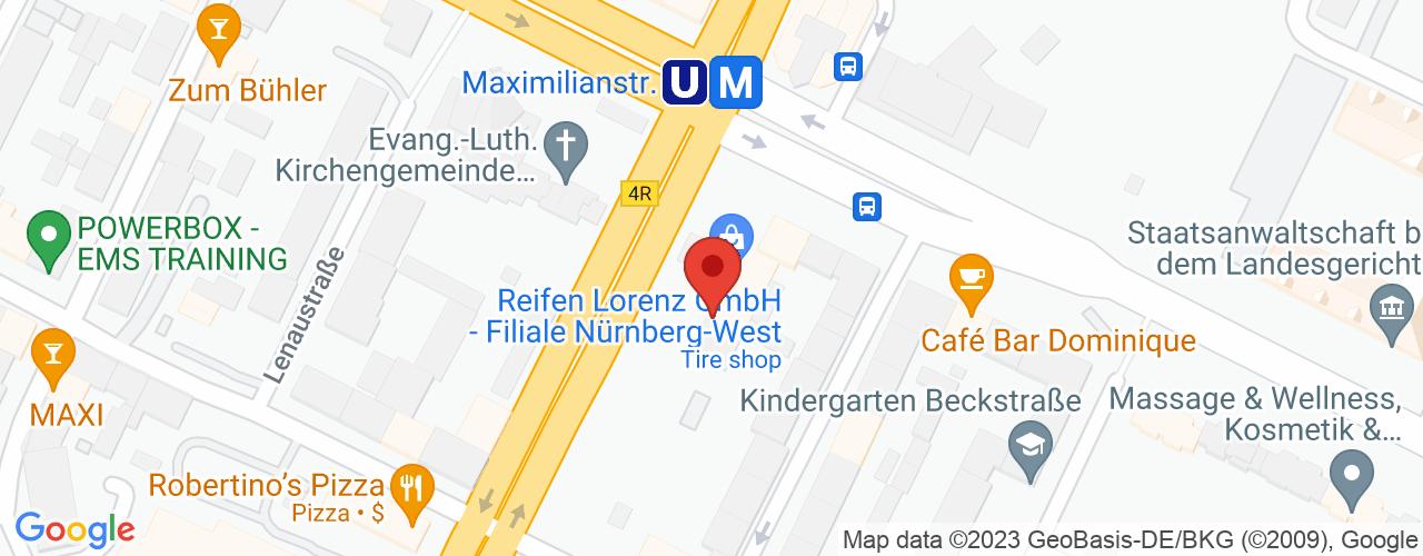 Karte von Bodymed-Center Nürnberg