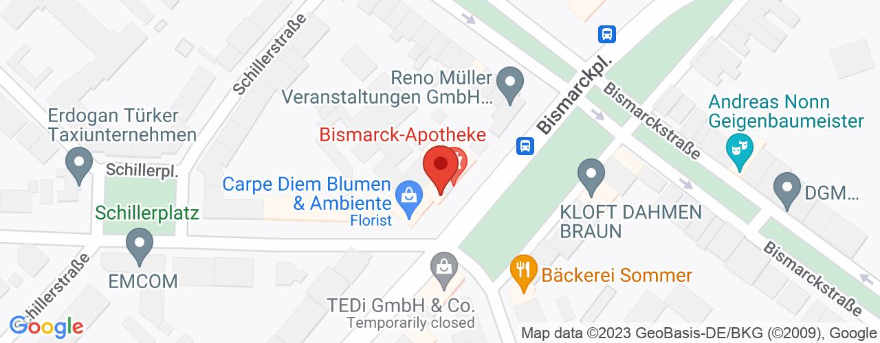 Karte von Bodymed-Center Krefeld Bismarck Apotheke