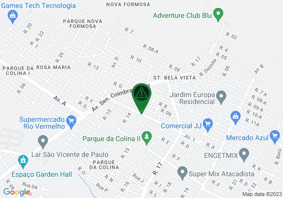 Mapa O canteiro central da Avenida 01/Rua A Pq da Colina 2