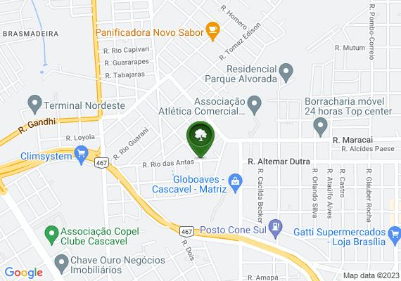 Mapa A esquina entre as Ruas Rio das Antas e Rua Rio Azul no