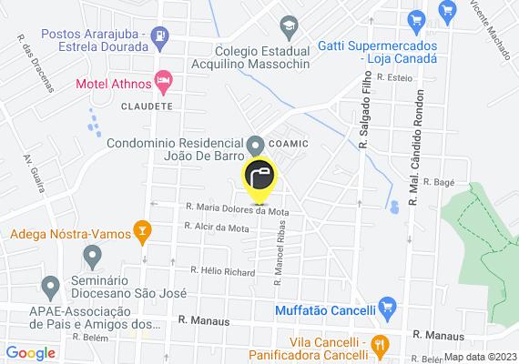 Mapa Lampadas queimadas em frente ao ginásio do bairro Cancelli.