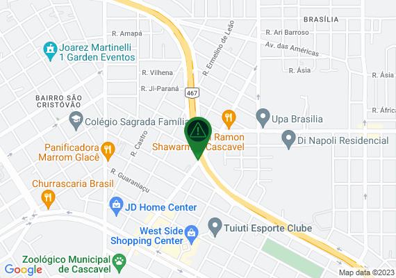 Mapa O trânsito no viaduto da rua theobaldo bresolin em horário