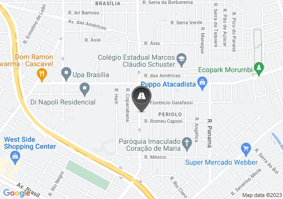 Mapa Rua Ipanema com Travessa Copacabana. Grande valeta se