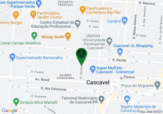 Mapa Faixa de sinalização mal pintada