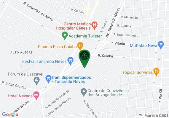 Mapa Ausência de pintura (sinalização horizontal) da