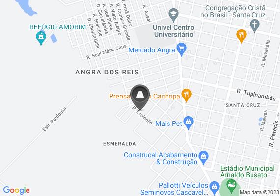 Mapa A Rua Espinélio entre as Ruas Brilhante e Rua Zircão está