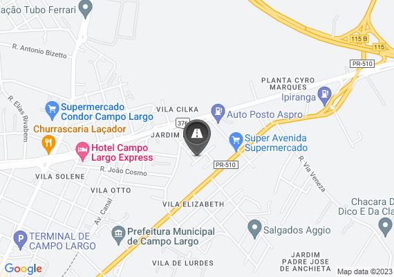 Mapa Apenas 128 metros do início da rua 25 de Dezembro no Jardim