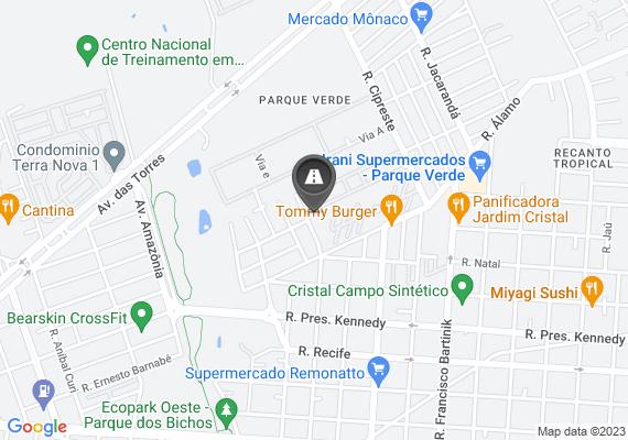 Mapa Local onde já foi concertado um buraco no asfalto, voltou a