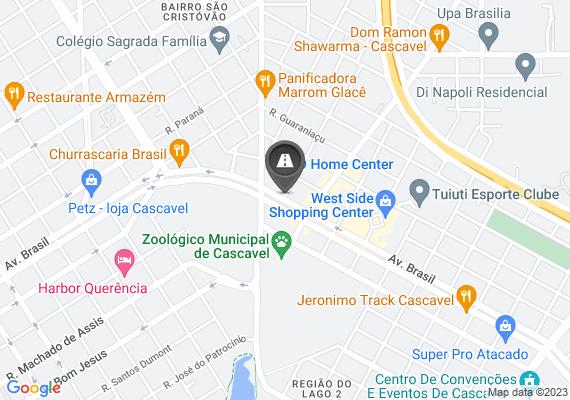 Mapa Vários buracos ao longo da avenida Brasil