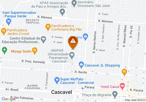 Mapa A placa de Pare, nas proximidades da UNIPAR, está