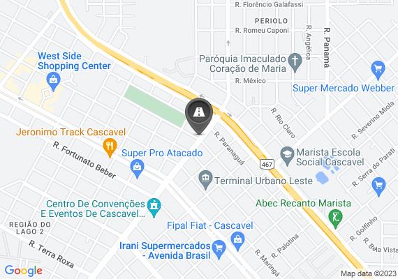 Mapa Foi colocado semáforo na esquina da Rua Rocha Pombo com a