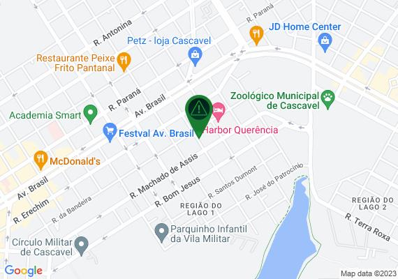 Mapa Gostaria mostrar as calcadas de pedestres no bairro