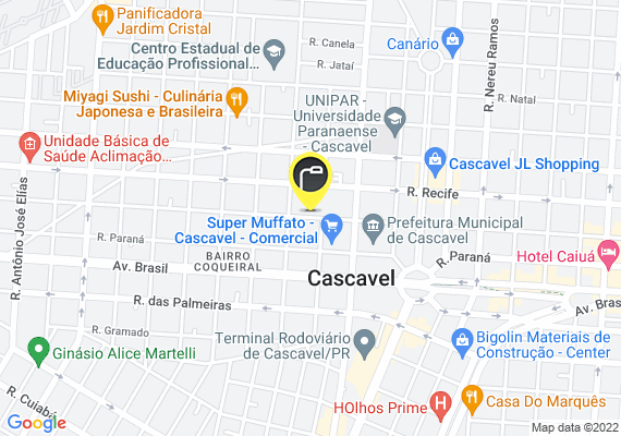 Mapa Na Rua Pernambuco, ao lado do Muffato e clube comercial.